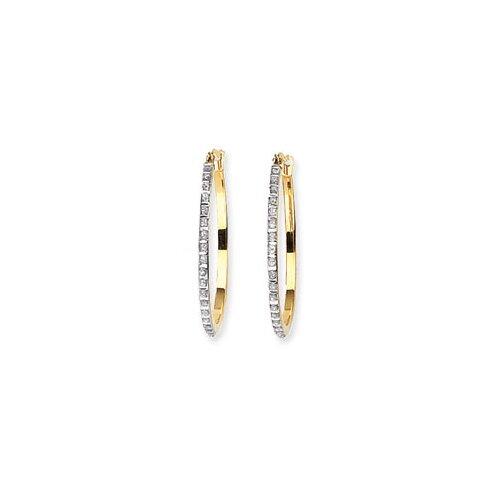 14k Diamond Fascination Oval Hinged Hoop Earrings