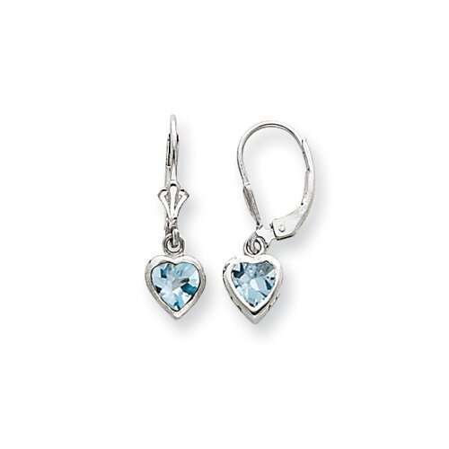 Sterling Silver 5mm Heart Blue Topaz Leverback Earrings