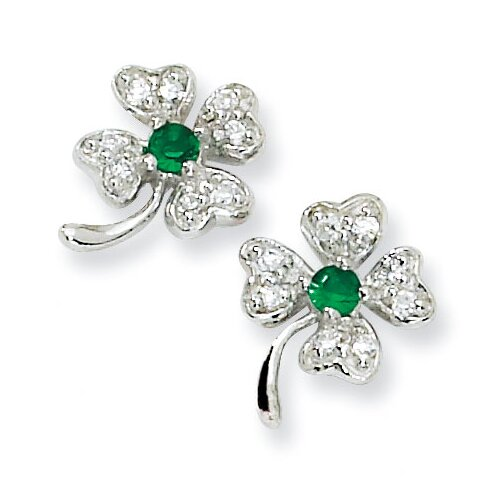 Jewelryweb Sterling Silver Simulated Emerald CZ 4-leaf Clover Post Earrings