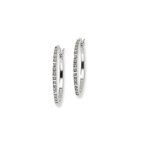Diamond Mystique Round Hinged Hoop Earrings
