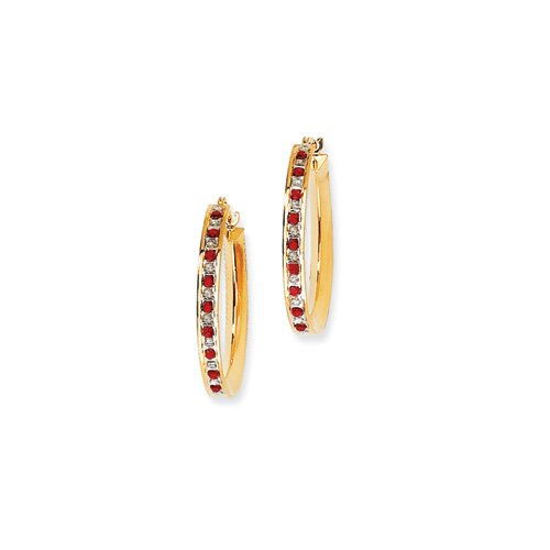 Jewelryweb Sterling Silver and Gold-plated Dia. and Ruby Round Hinged Hoop Earrings