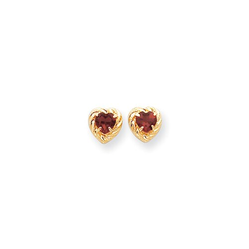 14k Garnet Heart Earrings