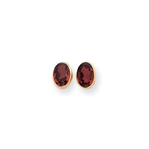 14k Oval Garnet Earrings
