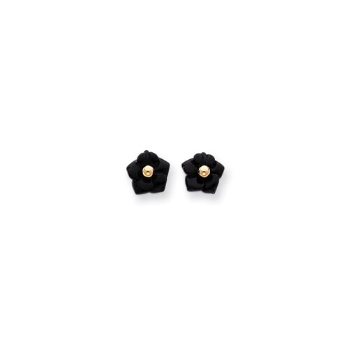 14k Onyx Flower With Gold Bead Earrings