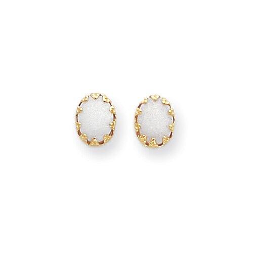 Jewelryweb 14k Oval Opal Post Earrings