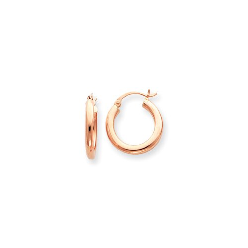 Jewelryweb 14k Rose Gold 3mm Hoop Earrings