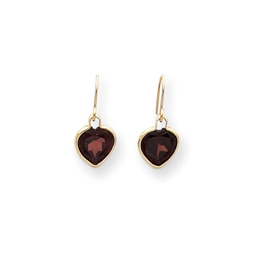 14k Garnet Heart Dangle Earrings