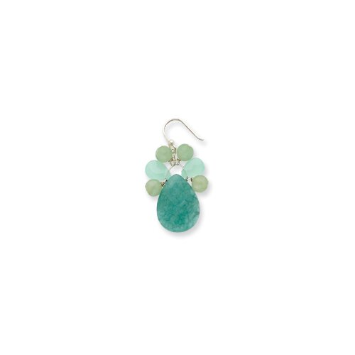 Jewelryweb Sterling Silver Green Agate Amazonite Jade Earrings