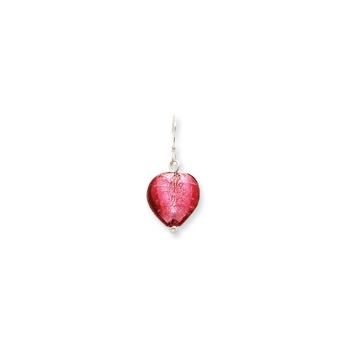 Sterling Silver Pink Murano Glass Bead Heart Earrings