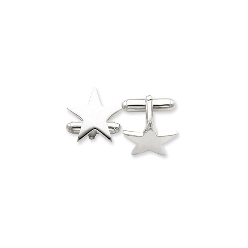 Jewelryweb Sterling Silver Star Cuff Links