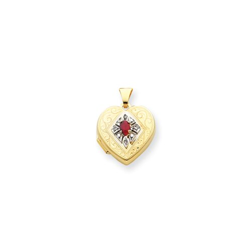14k Ruby and .03ct. Diamond 18mm Heart Locket
