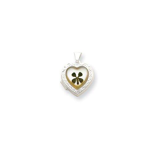 Sterling Silver MOP with 4 Leaf Clover 2-Frame Heart Locket