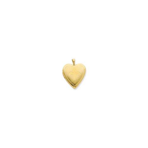 Jewelryweb 1/20 Gold Filled 20mm Fleur de lis Heart Locket