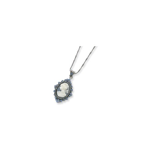 Sterling Silver Blue Crystal Cameo Pendant Chain - 1Spring Ring
