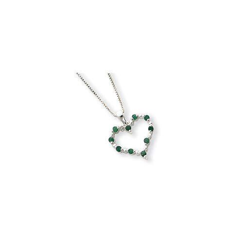 Jewelryweb Sterling Silver Emerald Heart Necklace - Spring Ring