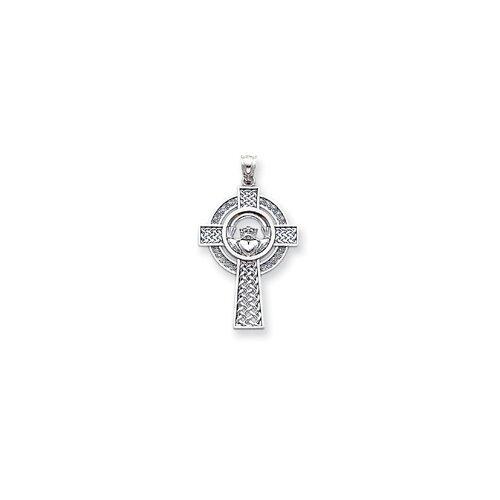 Jewelryweb 14k White Gold Celtic Claddagh Cross Pendant