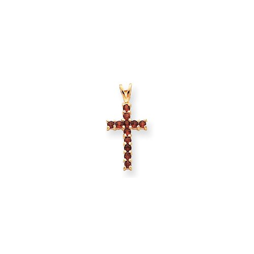 14k Garnet Cross Pendant