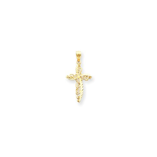 Jewelryweb 14k Scroll Design Cross Pendant