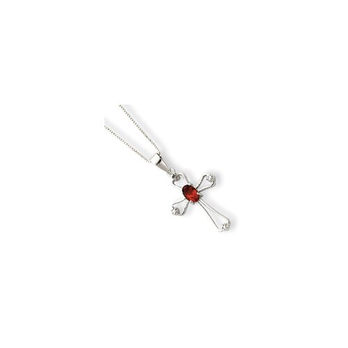 Jewelryweb Sterling Silver Garnet Cross Necklace - Spring Ring