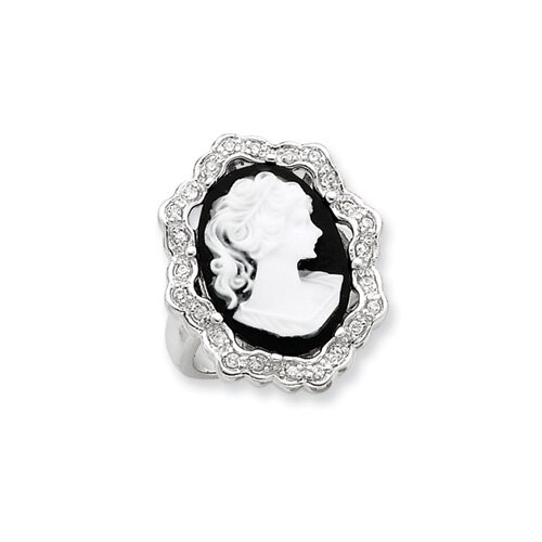 Jewelryweb Sterling Silver CZ Cameo Ring