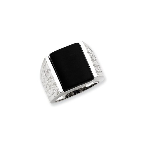 Jewelryweb Sterling Silver Onyx Mens Ring