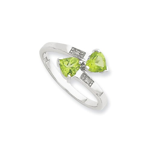 Jewelryweb Sterling Silver Rhodium Peridot and Diamond Heart Ring