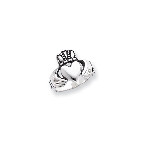 Sterling Silver Antiqued Claddagh Ring