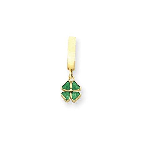 14K Green Enameled Four Leaf Clover TummyToy Belly Ring