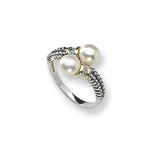 Jewelryweb Sterling Silver With 14k Diamond and Cultured Pearl Ring