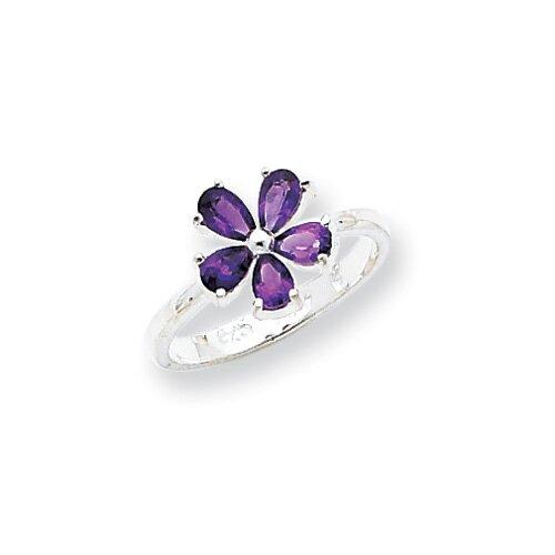 Jewelryweb Sterling Silver Pear Cut Amethyst Ring