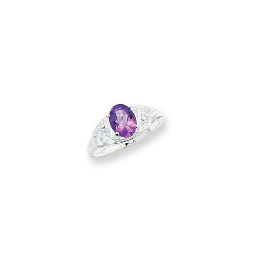 Jewelryweb Sterling Silver Oval Amethyst Ring