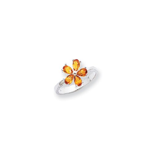 Jewelryweb Sterling Silver Pear Cut Citrine Ring