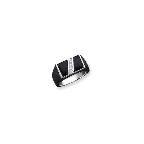 Jewelryweb Mens Sterling Silver Rectangular Cut Cubic Zirconia and Onyx Ring