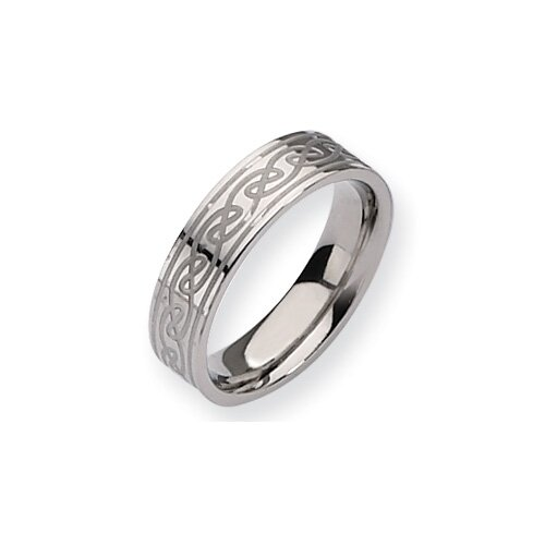 Titanium Celtic Knot 6mm Satin Polished Band Ring