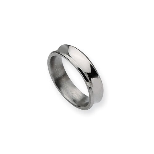 Jewelryweb Titanium Concave 6mm Polished Band Ring