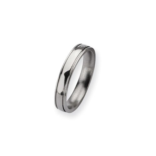 Jewelryweb Titanium Grooved and Beaded 4mm Polished Band Ring