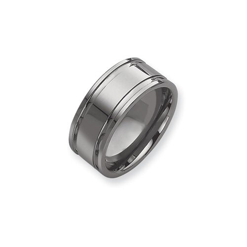 Jewelryweb Tungsten Grooved 10mm Polished Band Ring
