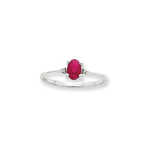 10k White Gold Genuine Diamond Ruby Birthstone Ring