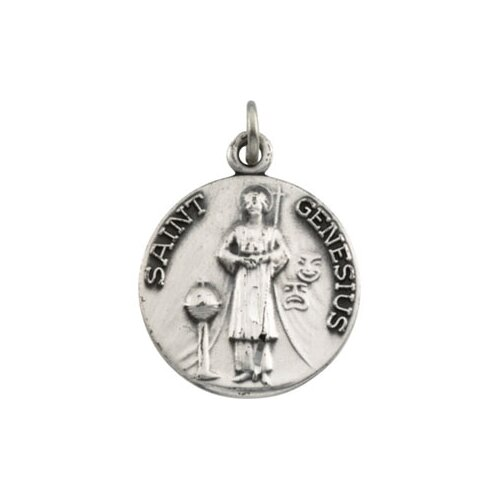 Jewelryweb Sterling Silver St. Genesius Medal With Chain