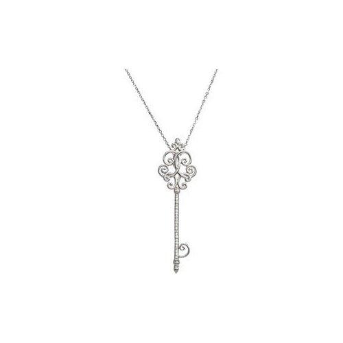 Jewelryweb Sterling Silver Diamond Scroll Key Necklace 1/8ct 18 Inch