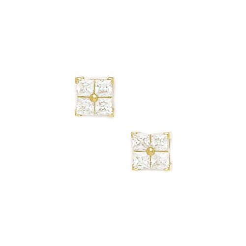 Medium 4 Segment Square Cut cubic zirconia Stud Earrings