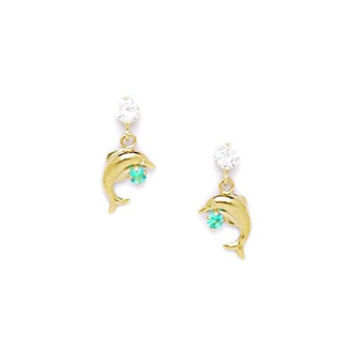 Dolphin Cubic Zirconia Drop Earrings