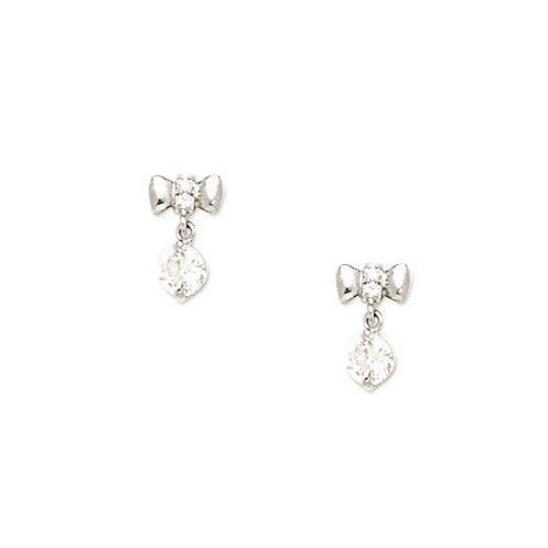 Medium Bow Cubic Zirconia Drop Earrings