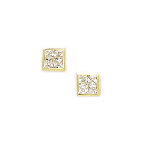 Small Square Segmented Cubic Zirconia Stud Earrings