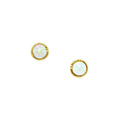Jewelryweb Round Opal Stud Earrings