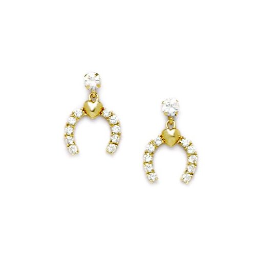 Horseshoe Cubic Zirconia Drop Earrings