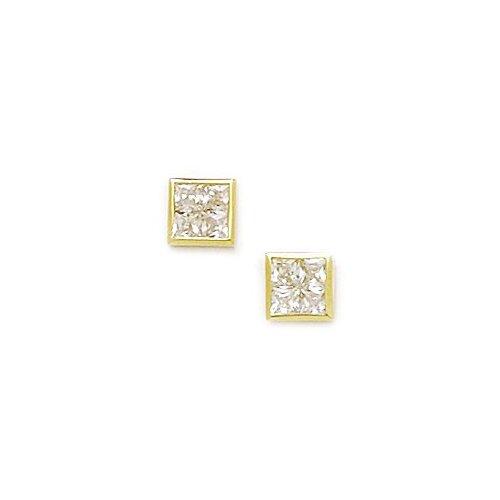 Small Square Segmented Cubic Zirconia Stud Earrings