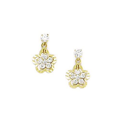 Flower Cubic Zirconia Drop Earrings