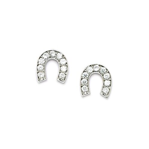 Medium Horseshoe Cubic Zirconia Stud Earrings