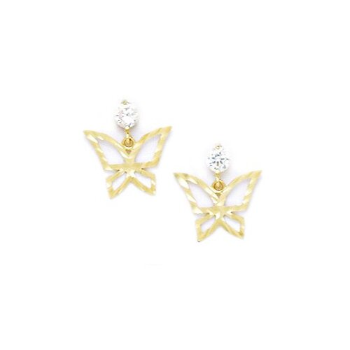 Butterfly Cubic Zirconia Drop Earrings
